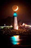 Crescent Moon setting over the Walton Lighthouse